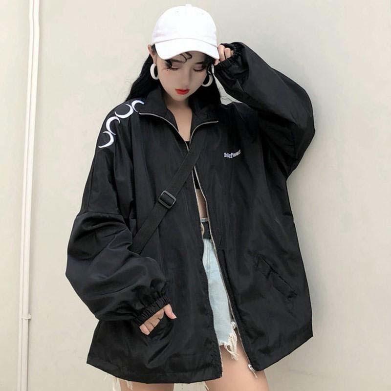 Baseball Jackets 2020 Spring Women's Basic Jacket Harajuku Gothic Moon Coat Oversized Windbreaker Outwear Medium-long Clothes