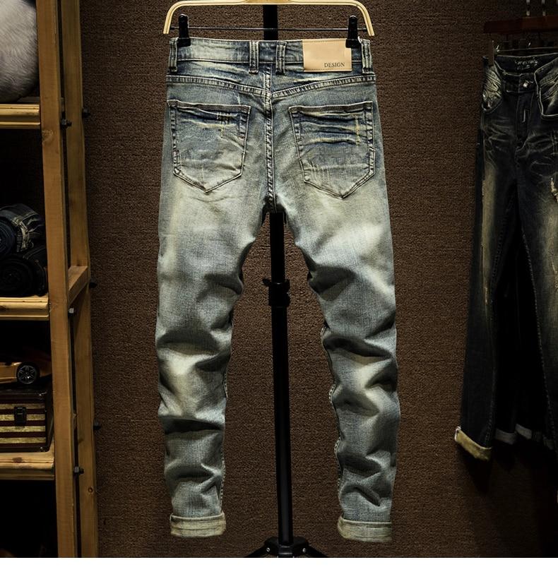 KSTUN Ripped Jeans for Men Slim Fit Retro Blue Stretch 2020 Hip Hop Spring Autumn Mens Jeans Brand Destroyed Torn Men's Denim Jeans 12