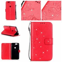 Huawei NEXUS 6 P/G8/P8lite 2017 Single Side Rhinestone Butterfly Embossed Y6/Y625 Leather Phone Cover Case(China)