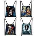 Женская сумка на шнурке с милым рисунком в готическом стиле; Модная сумка для хранения; Холщовый рюкзак для девочек-подростков; Женские вече...