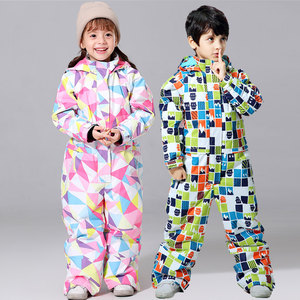 Image 1 - 2019 New Ski Suit For Boys And Girls Winter Children Windproof Waterproof Super Warm Snow Skiing And Snowboarding Clothes
