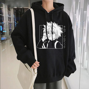 Japanese Anime Funny Killua Eyes Killua HxH Hoodies 2020 Winter Japan Style Hunter X Hunter Sweatshirts Streetwear for Women/men 1