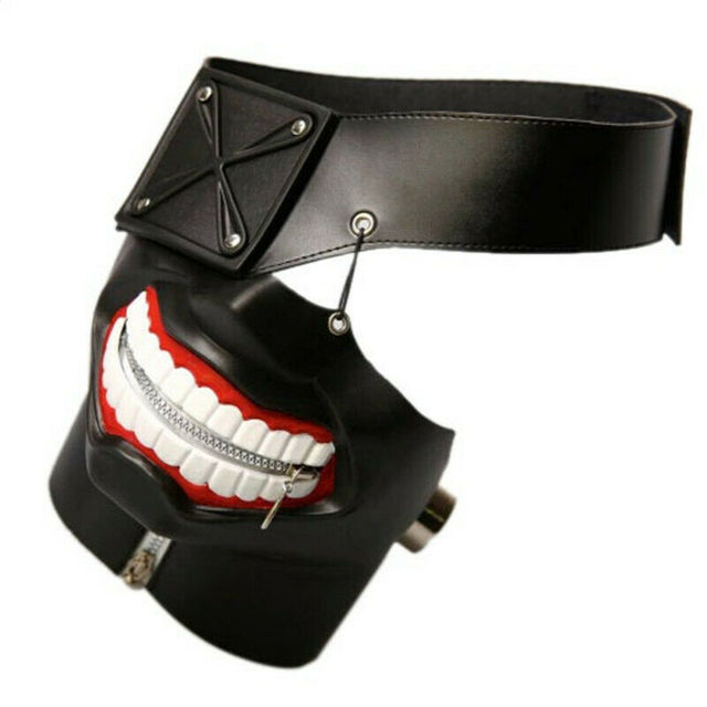 Tokyo Ghoul Kaneki Ken Latex Mask Halloween Party Cosplay Prop Anime Costume Accessory Adjustable One Size Fits Most 3