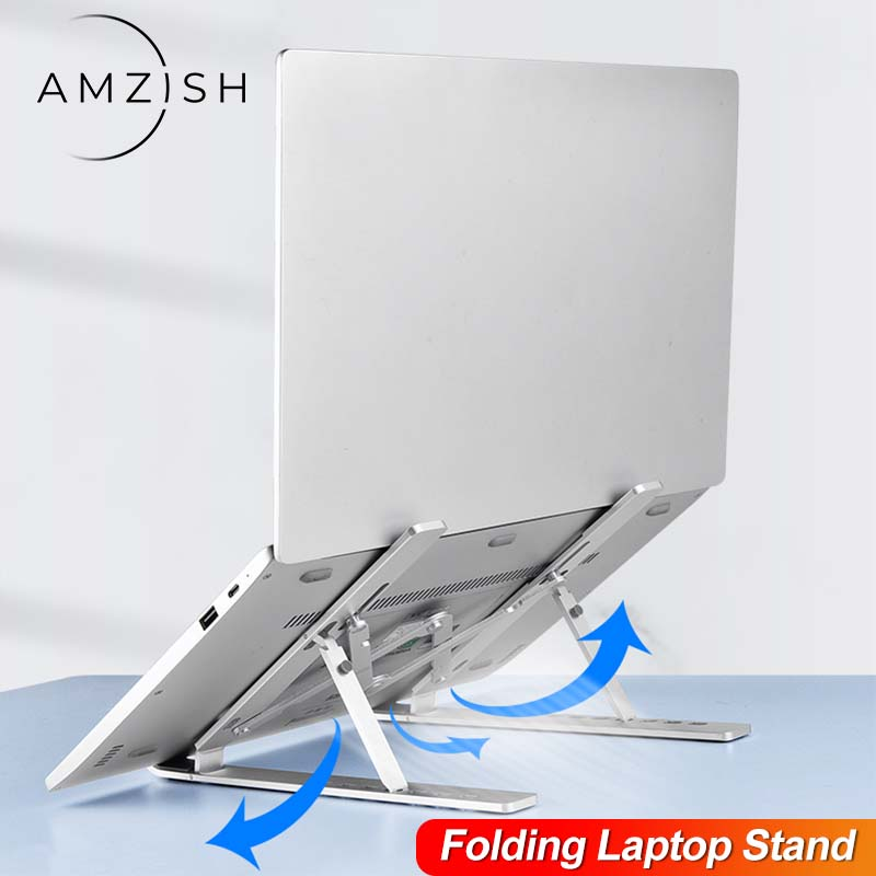 amzish Laptop Stand for MacBook Air Pro Notebook Foldable Aluminium Alloy Bracket Laptop Holder for PC Notebook
