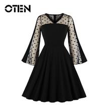 OTEN Vintage Elegant Black V-Neck Women Dresses 2019 New Summer Patchwork Mesh Vestidos Sexy Party Flare Sleeves Dot Femme Плать