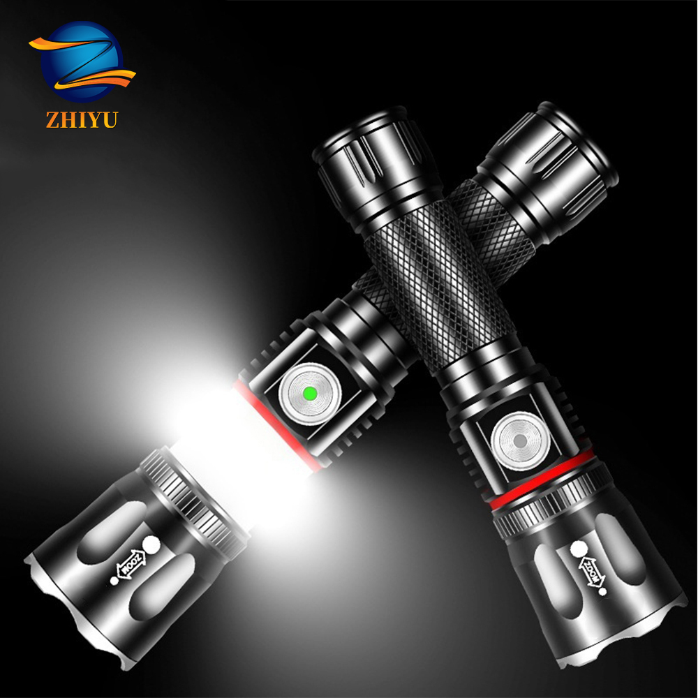 ZHIYU T6 Cob Flashlight 2000 Lumen Tail Magnet Adsorption Work Lamp Use 18650 Lithium Battery Waterproof Torch Camping Light