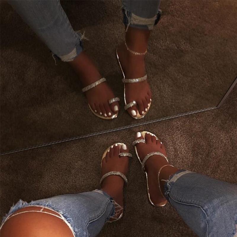 Women Summer Flat Bling Slippers Transparent Soft Jelly Shoes Female Flip Flops Sandals  Outdoor Beach Ladies Slides Plus Size 3