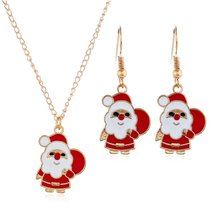 Christmas Earrings Cute Cartoon Drop Oil Color Santa Snowman Christmas Gift Earrings Necklace Set Professional Fashion Portable