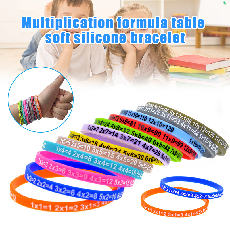 12pcs Multiplication Tables Soft Silicone Bracelet Learn Math Education Wristband For Kids NSV775