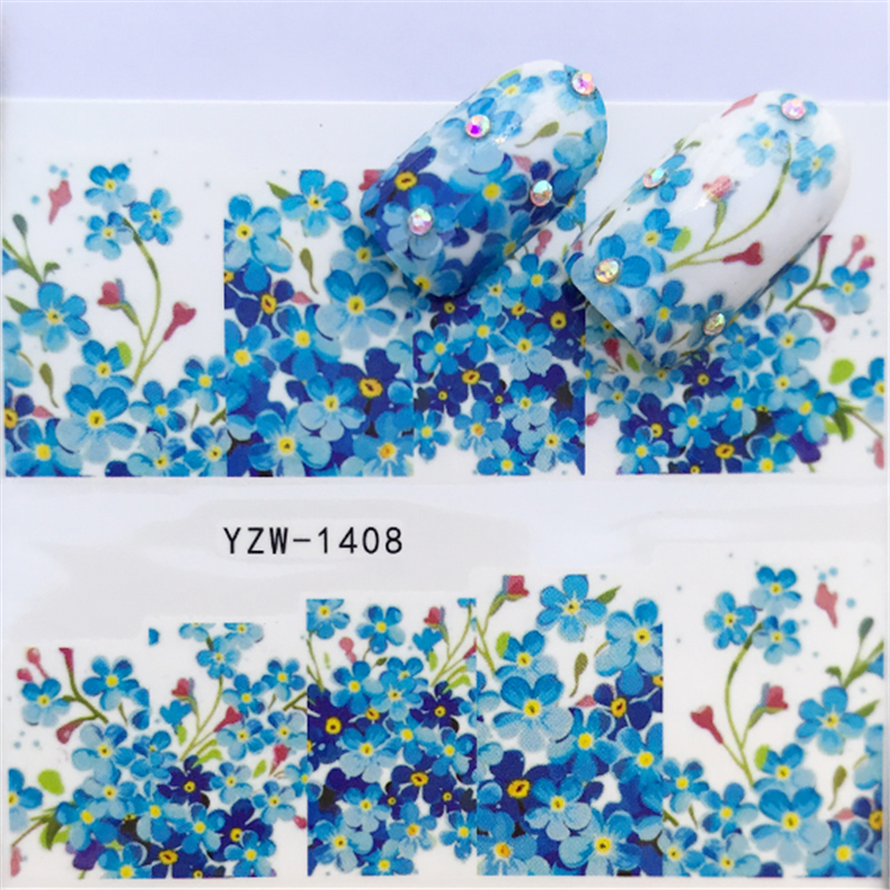 1 Sheet Nail Sticker Water Decals Rose Red Blue Flower Marble Manicure Nail Art Transfer Sticker With Dual-sided Nail File