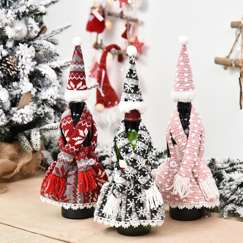 Christmas Red Wine Bottle Bag Cover Small Faceless Doll Santa Claus Snowman Decor Champagne Bottle Bag Christmas Decorations for