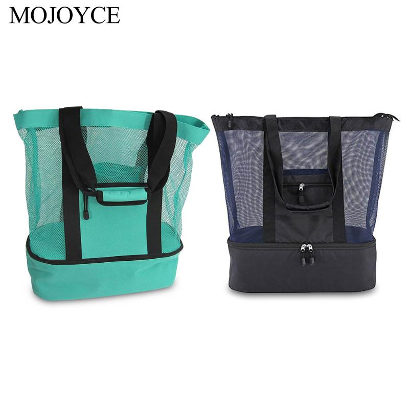 Diamond Mesh Heat-retaining Picnic Bags Fruit Fresh-keeping Bag Waterproof Double Layer Food Handbags For Outdoor Camping