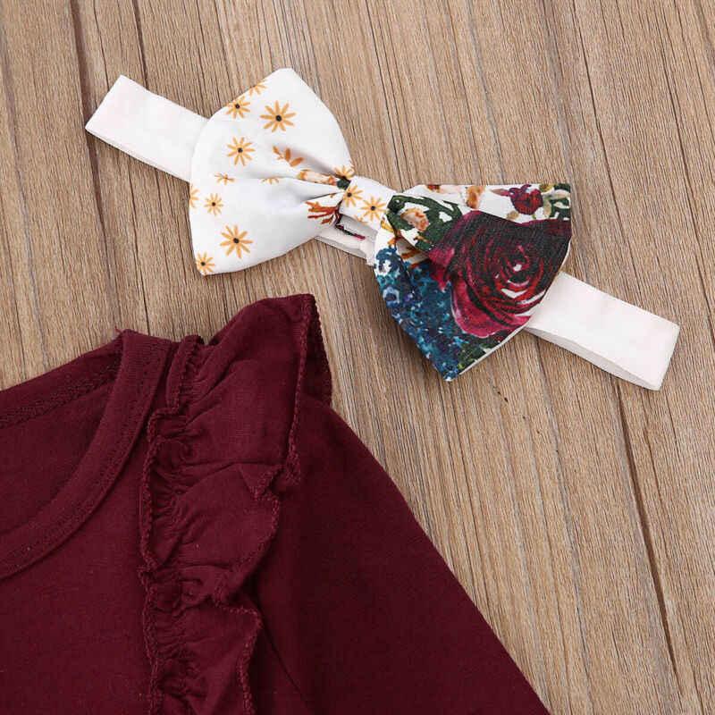 Tatlı yürümeye başlayan çocuk bebek kız Ruffled tulum Tops yay çiçek pantolon sonbahar kış uzun kollu kafa bandı 3 adet kıyafetler giysi Set 0-18M