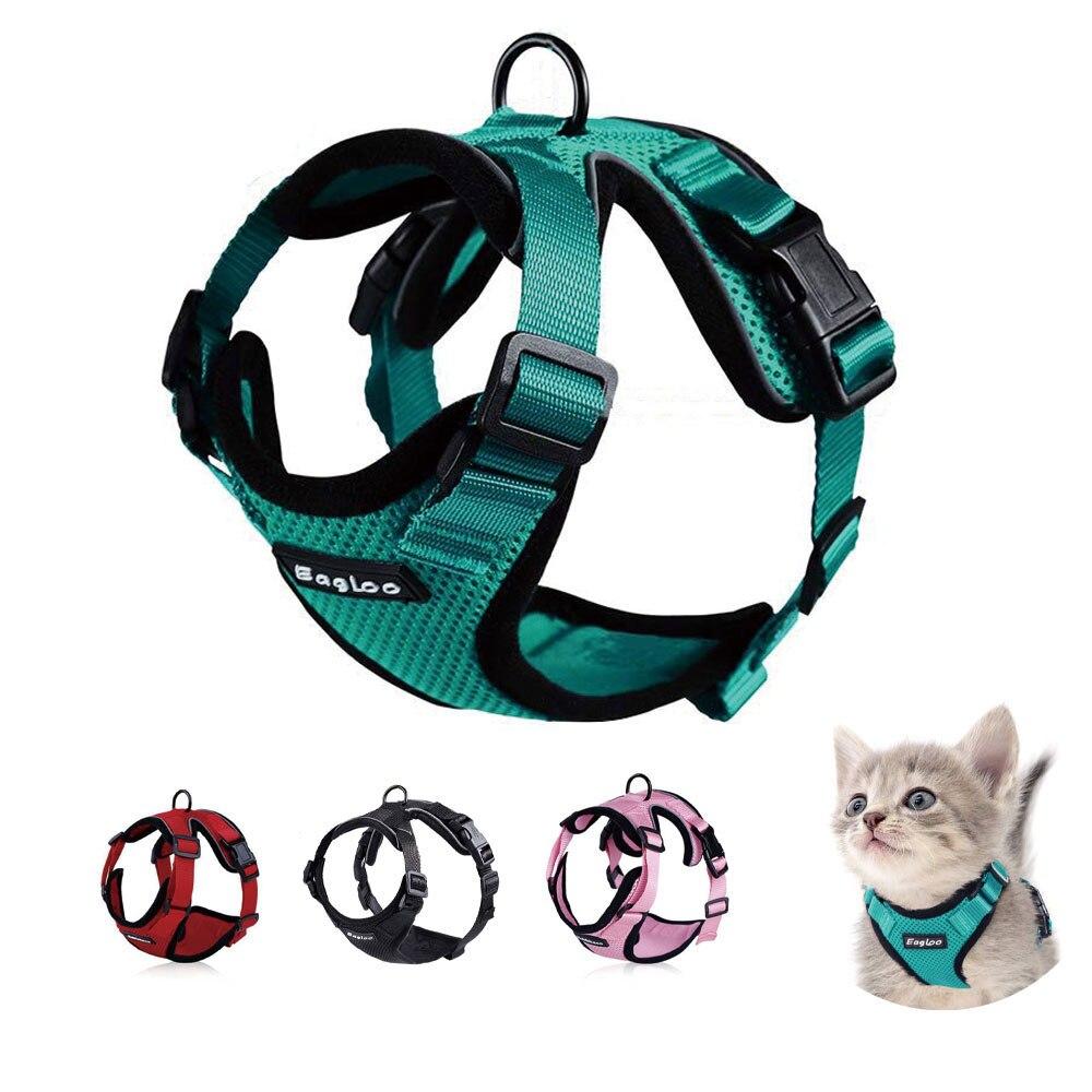 Conjunto de arnés y correa para gato, chaleco a prueba de Escape, arnés con tiras reflectantes, chaleco de malla suave ajustable para cachorro y gatito