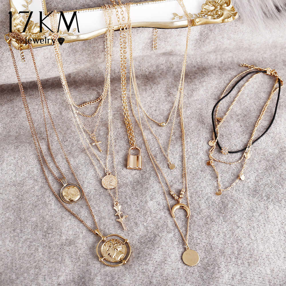 17KM Vintage Round Necklaces Gold Eye Necklaces For Women Girl Boho Long Coin Pendant & Necklace 2019 New Fashion Jewelry Gift