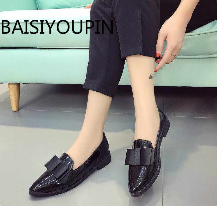 2019 Women Shoes Patent Leather Flats