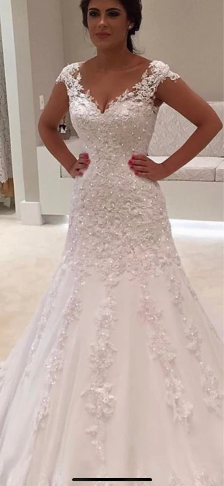 Eightale Mermaid Wedding Dresses V Neck Appliques Lace Wedding Gown Sexy Bride Dress Backless Robe Vintage Mariage