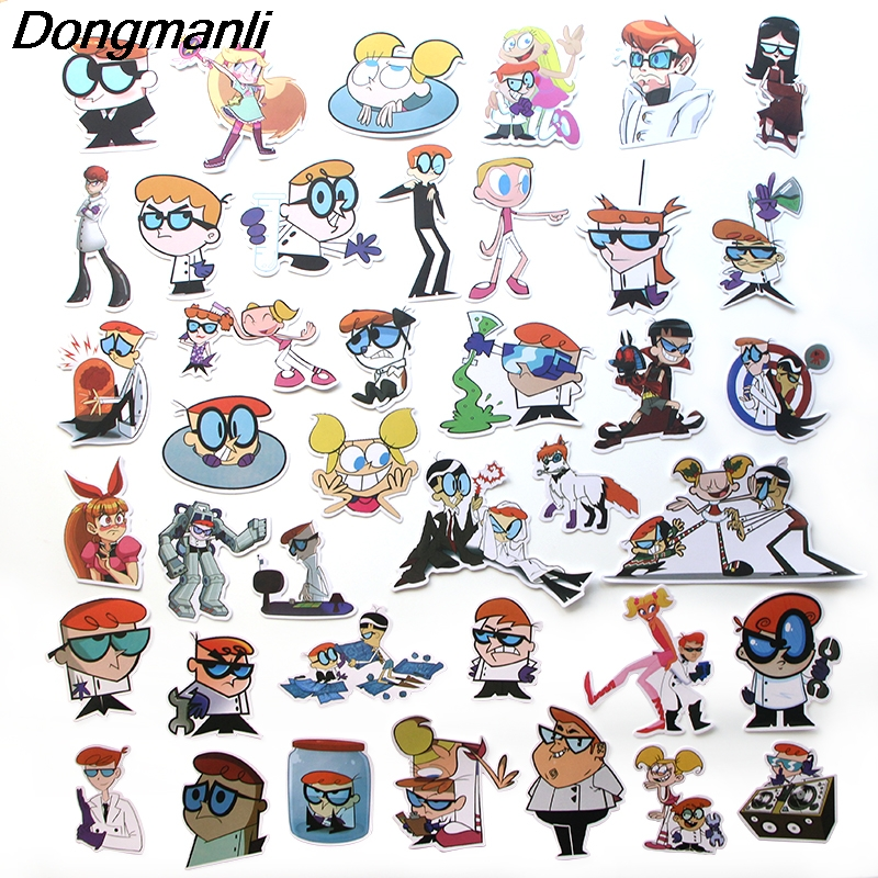 L3535 Dongmanli 39pcs set Dexter 39 s Lab Skateboard Graffiti Laptop Badge Motorcycle Luggage Accessories in Chain Necklaces from Jewelry amp Accessories