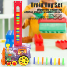 Domino Rally Electronic Train Model Colorful Toy Set Girl Boy Children Kids Gift S7JN(China)