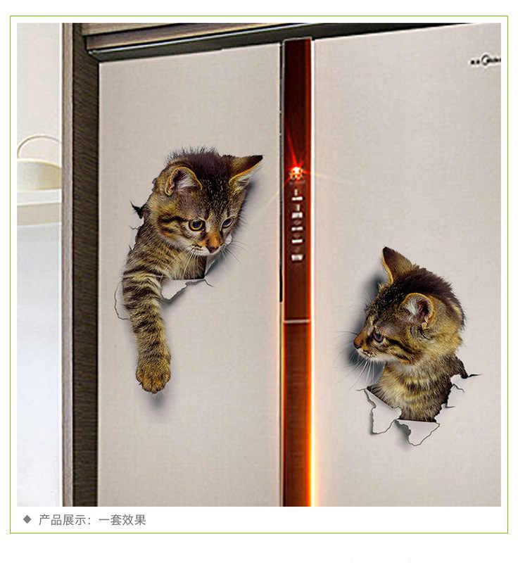 ثقب عرض حية القطط ثلاثية الأبعاد الجدار ملصق الحمام المرحاض غرفة المعيشة المطبخ الديكور الحيوان شارات الفينيل ملصق الفن ملصق