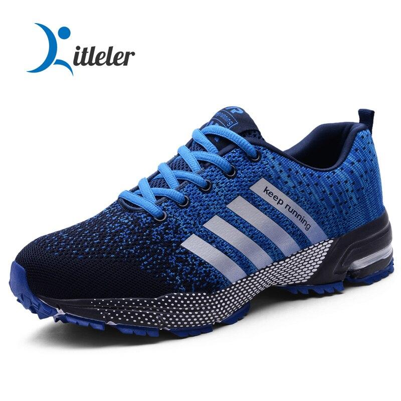 Breathable Running Shoes Men Lightweight Non-slip Sneakers Comfort Unisex Jogging Sport Shoes Walking Blue Zapatillas Siez 35-47