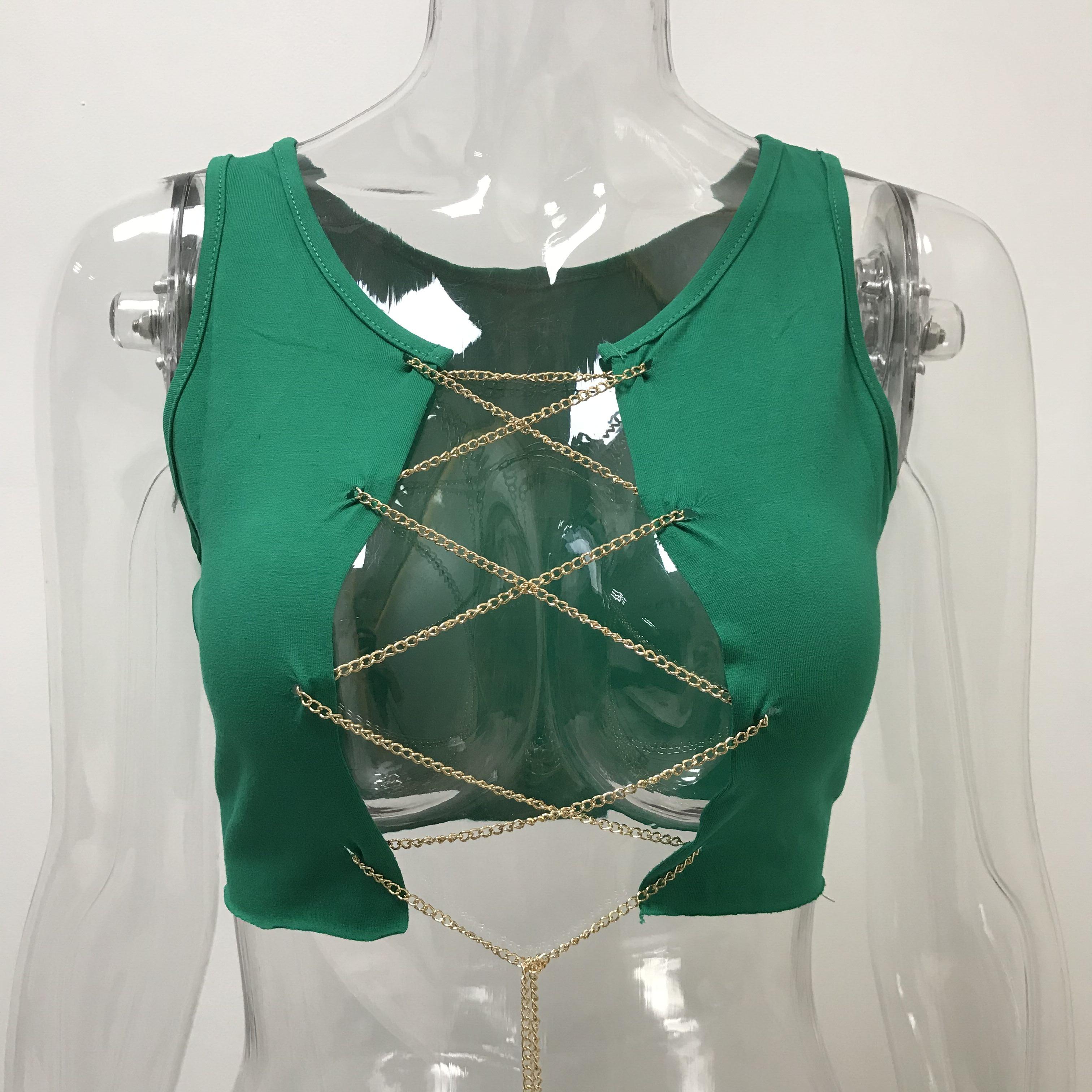 Metal Chain Sleeveless Crop Sexy Clubwear Tank Tops Tees Camisole - tops-tees