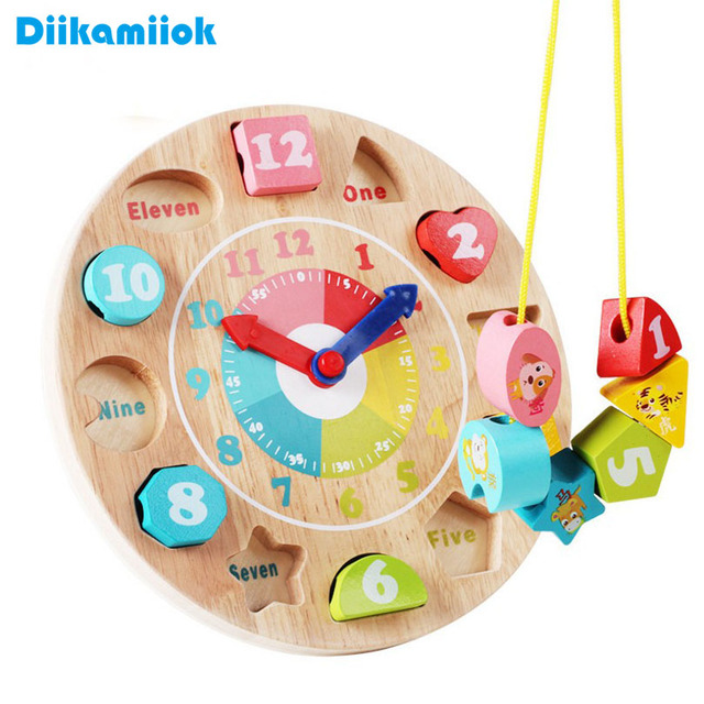 New Baby Fun Clock Building Blocks Educational Learning Toys for Children Wooden Toy Digital/ Shape/ Color Cognitive Puzzle Game