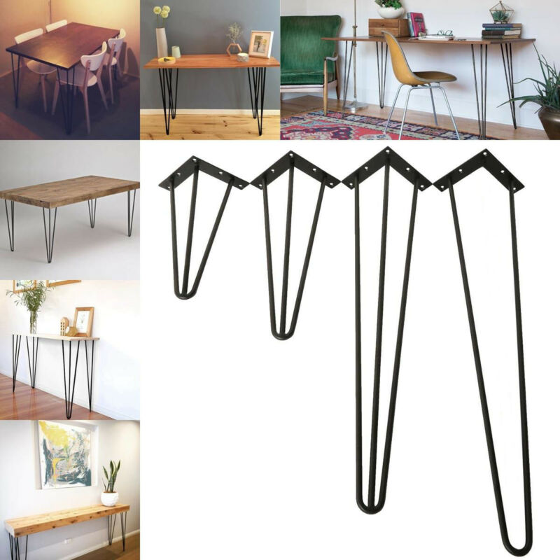 3-Rod Multiple Size Metal Hairpin Table Leg Set Of 4 Solid Iron Laptop Desk DIY
