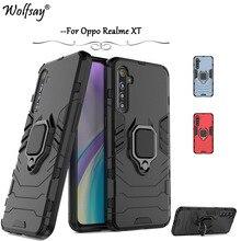 For Realme XT Case Shockproof Armor Metal Finger Ring Holder Phone Cas