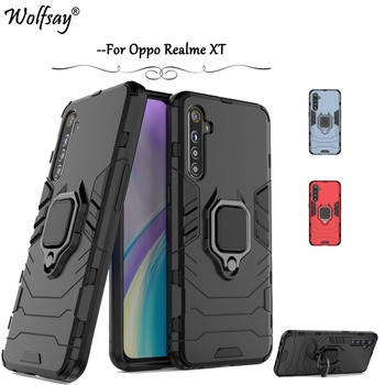For Realme XT Case Shockproof Armor Metal Finger Ring Holder Phone Case For Realme XT X2 Protective Cover Realme XT X2 K5 730G