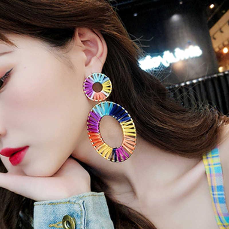 Fashion ZA Big Metal Drop Earring For Women Wedding Jewelry Gold Color Geometric Dangle Statement Earrings Christmas Gifts