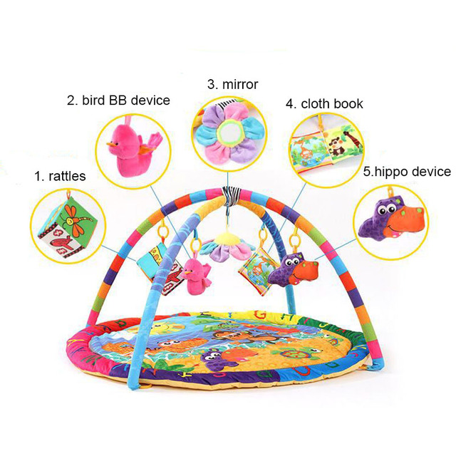 Baby Fitness Play Mat 90*90*50cm Toys for Children Carpet Music Mat Educational Rack Infant Crawling Gym Activity Blanket Gift