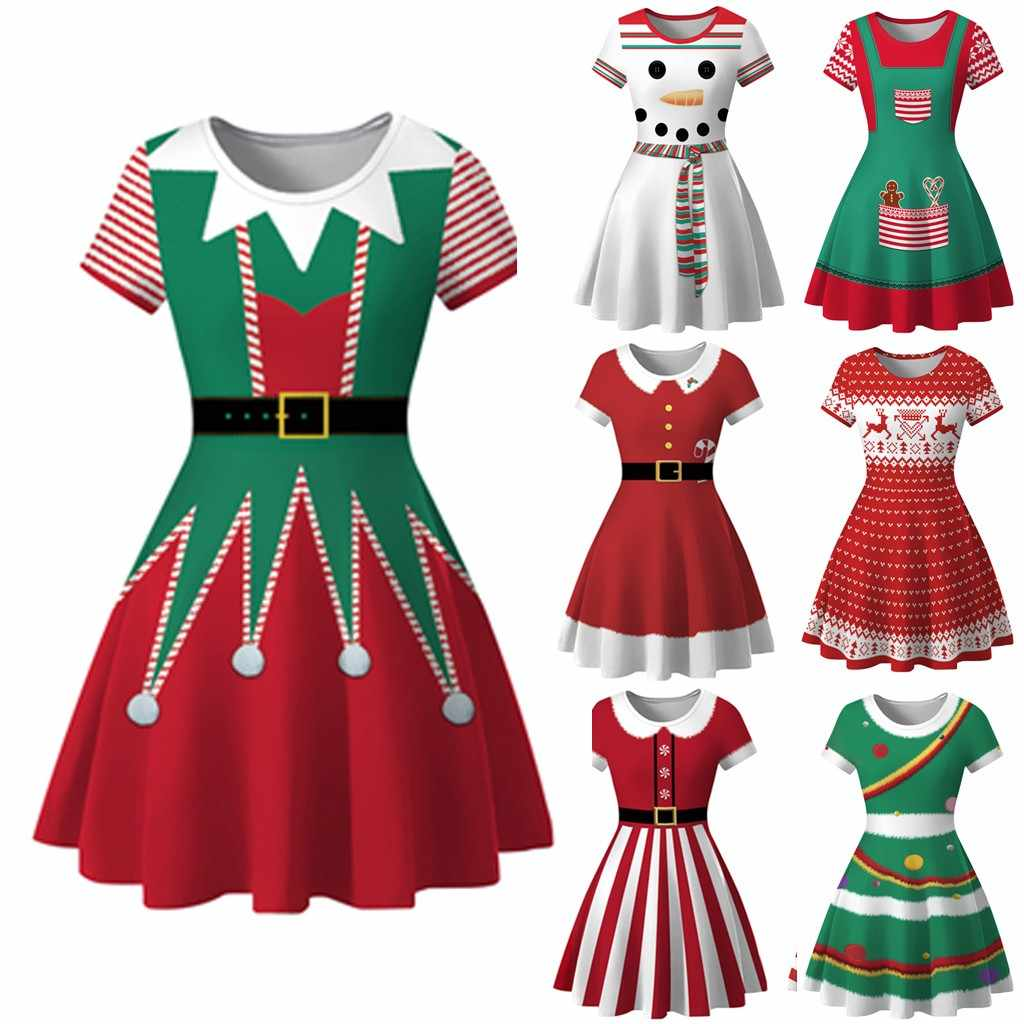 Winter Christmas Dresses Women 50S 60S Vintage Robe Snowman Print Elegant Party Dress Short Sleeve Casual Plus Size Print Red