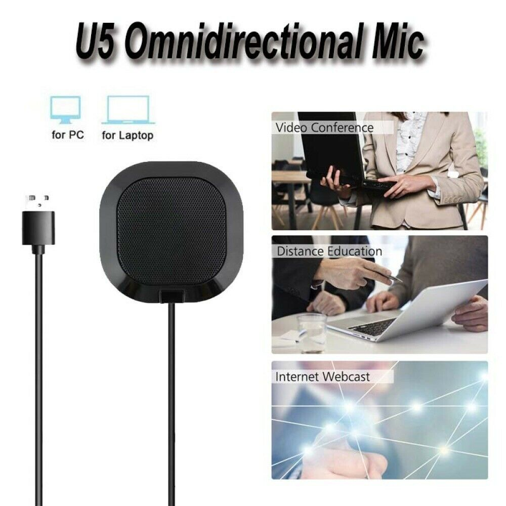 U53 USB Plug Computer Tabletop Omnidirectional Boundary Conference Microphone For Recording Gaming Skype Voip Call image