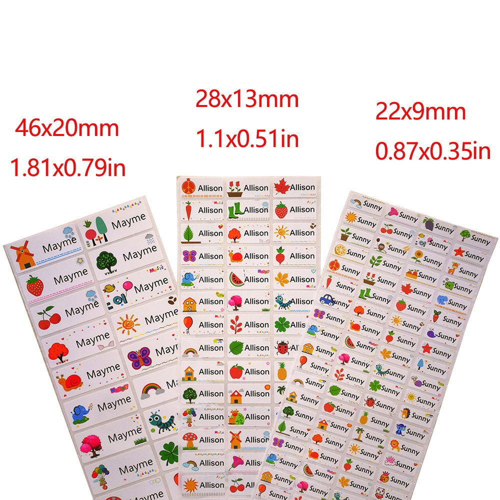 3Size Children Name Stickers Cute Cartoon Pattern Custom Waterproof Tag Labels For Children Personal Scrapbook School Stationery