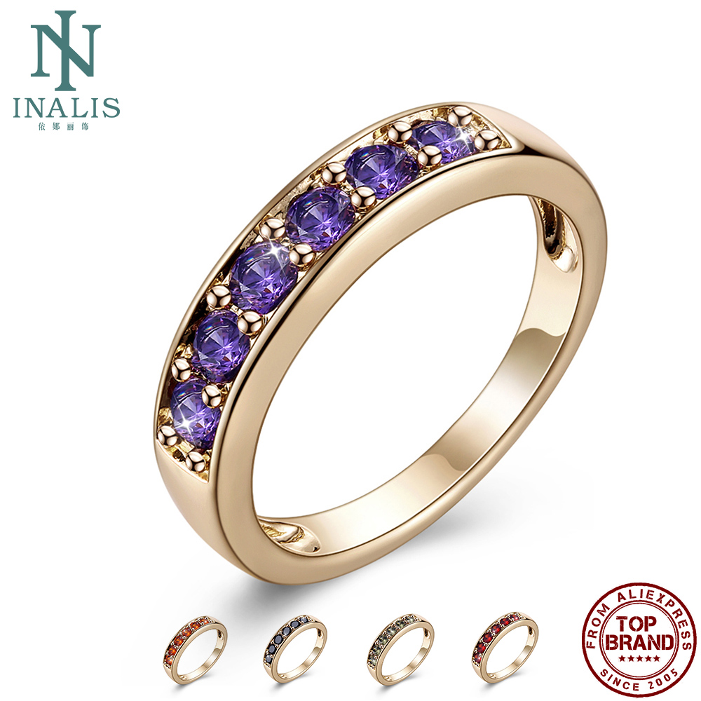 INALIS Romantic Champagne Gold Rings For Women Semi-Circle 5A Clear Cubic Zirconia Anniversary Female Ring Fashion Jewelry Best