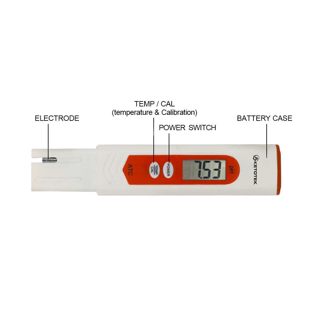 Ketotek Digital PH Meter Thermometer ATC TDS & EC Suhu Tester Celcius Fahrenheit Derajat untuk Aquarium Kolam Renang Anggur Urin Air