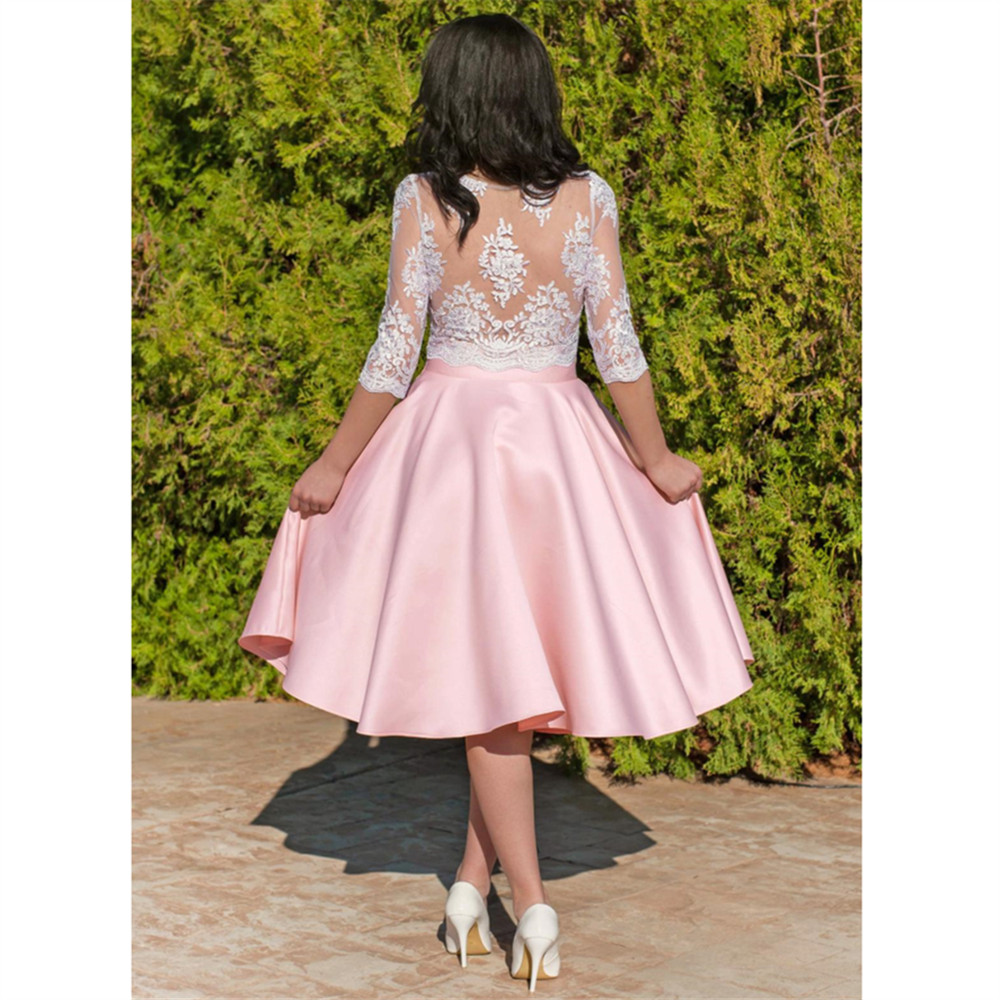 HONGFUYU Satin Elegant Two Pieces Homecoming Dresses 3/4 Lace Sleeves Knee Length vestidos de cóctel Short Prom Cocktail Dress