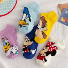 Socks Anime Short Sweat Mickey-Mouse Ankle-Low Girl Cotton Summer Women's Donald Disney