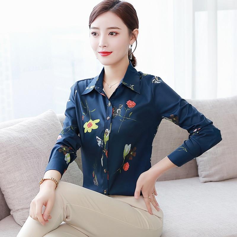 Korean Women Shirts Chiffon Women Blouses Elegant Office Lady Print Shirt Plus Size Blusas Mujer De Moda Woman Long Sleeve Shirt