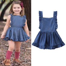 Polka dot Kids Dress For Girls Ruffle Dresses Girl 4 Years Sleeveless Casual Summer Girls Dress Square Collar Baby Clothes D30 ruffle detail dot textured embroidery dress