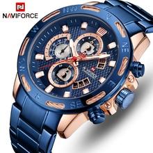 NAVIFORCE montre à Quartz pour hommes, de marque supérieure, chronographe entièrement en acier, étanche