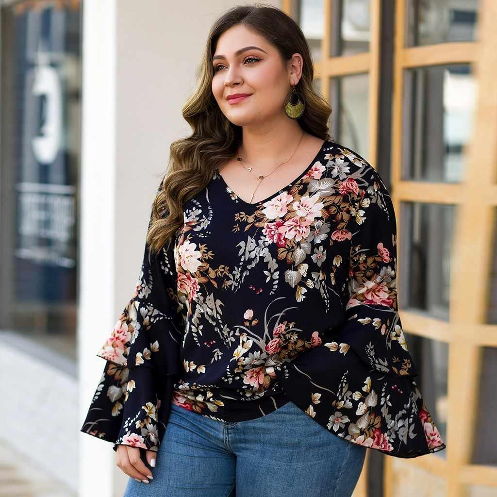 women blouses long sleeve Plus Size Casual V-neck Print Ruffled Petal Sleeve Loose Shirt Top blusas mujer de moda 2019 GH40