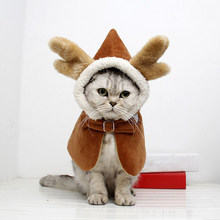 New Year Christmas Pet Cat Dog Cloak Clothes Chinese Style Costume Hooded Coat Small Dogs Spring Festival Cloak Winter Autumn()