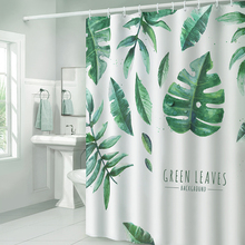 Green Tropical Plant Shower Curtains Waterproof Polyester Bath Curtain Toilet Bathroom for Room Home Decor