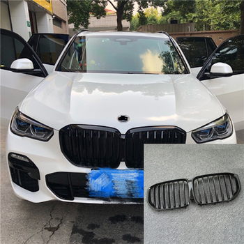 цена на 1Pair Gloss/Matte Black Front Kidney Grille for BMW New X5/G05 2019 Grille Car Style Refit Bumper Slat Double Line Racing Grills