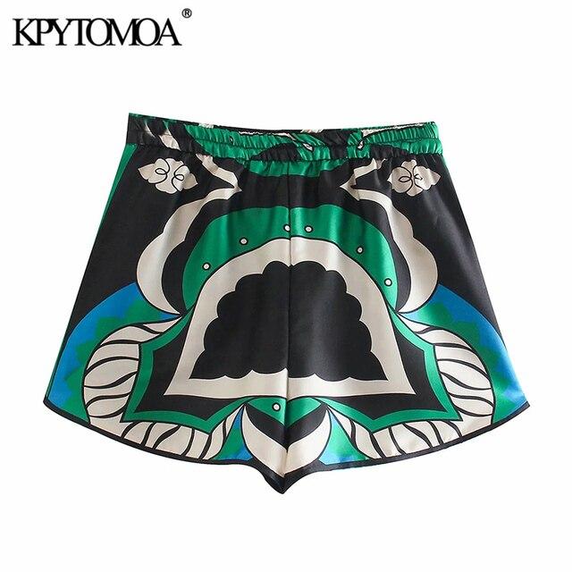 KPYTOMOA Women 2021 Fashion Side Pockets Printed Bermuda Shorts Vintage High Elastic Waist Side Vents Female Short Pants Mujer 2