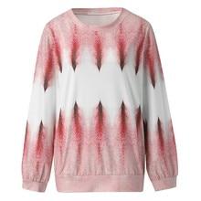 Women's Casual O-Neck Gradient Contrast Color Long Sleeve Top Pullover Sweatshirt   8.23 contrast insert long sleeve crew neck sweatshirt