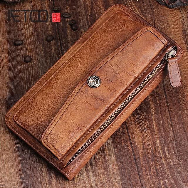 Aetoo couro artesanal retro longo carteira multi purpose fivela juventude multi cartão bit carteira de couro com zíper vintage