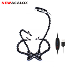 NEWACALOX USB LED 3X lupa do okularów lampa DIY lutowanie trzecia ręka 4pc elastyczne ramiona spawanie pomoc stojak naprawa narzędzie uchwytowe